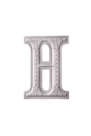 stock image of the silver color alphabet h