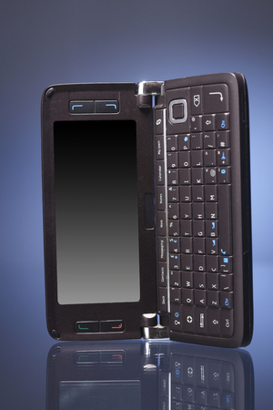 mobile phone on the blue background Stockfoto - 117689103