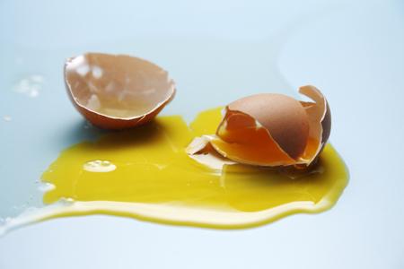 Egg yolk and egg white splattered
