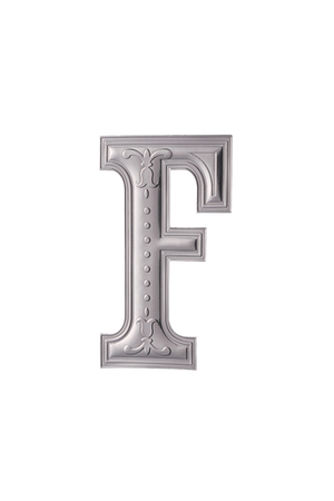 stock image of the silver color alphabet f