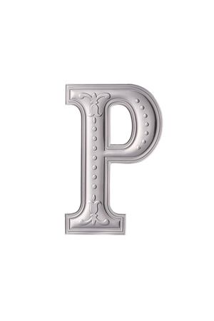 stock image of the silver color alphabet p Stock Photo