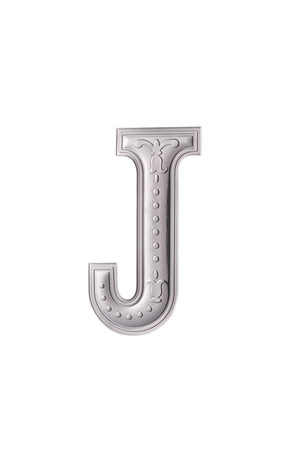 stock image of the silver color alphabet j