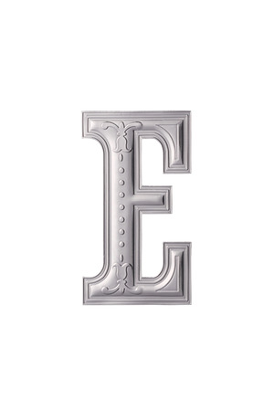 stock image of the silver color alphabet e