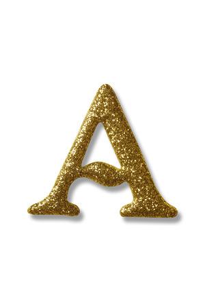tracciato di ritaglio dell'alfabeto dorato a Archivio Fotografico