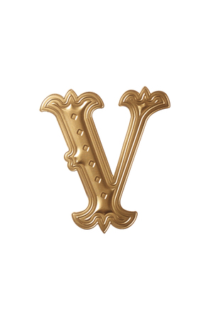 clipping path of the golden alphabet v Stock Photo