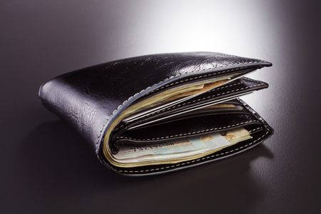 stock image of the wallet full of money