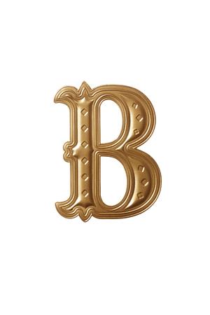 trazado de recorte del alfabeto dorado b Foto de archivo