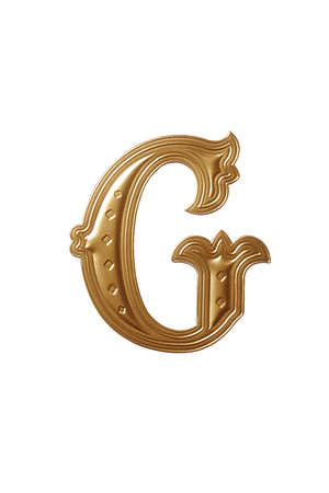 clipping path of the golden alphabet g