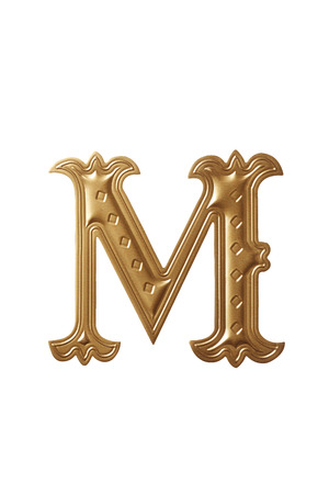 clipping path of the golden alphabet m