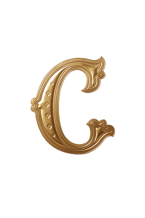 clipping path of the golden alphabet c Stock Photo