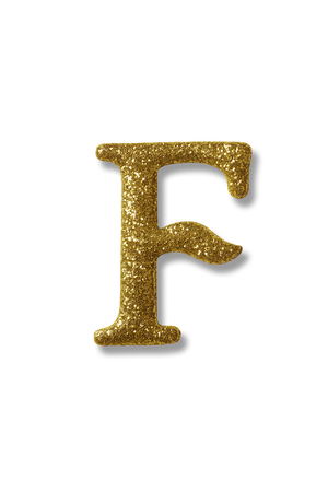 clipping path of the golden alphabet f