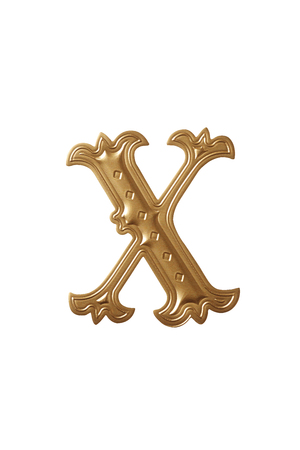 clipping path of the golden alphabet x