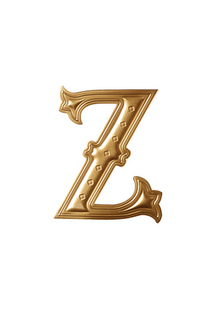 clipping path of the golden alphabet z