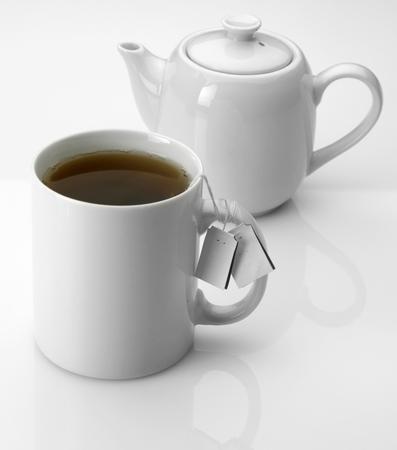 mug with tea as foreground of tea pot