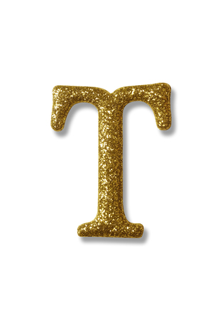 clipping path of the golden alphabet t