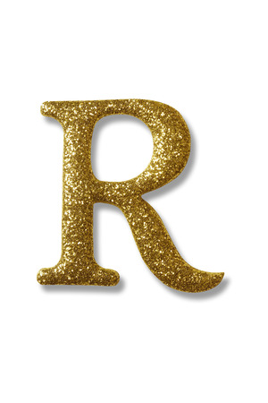 clipping path of the golden alphabet r