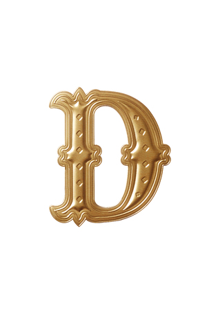 clipping path of the golden alphabet d Stock Photo