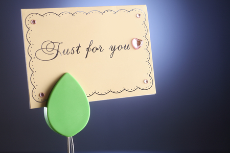 message holder with message just for you Stock Photo