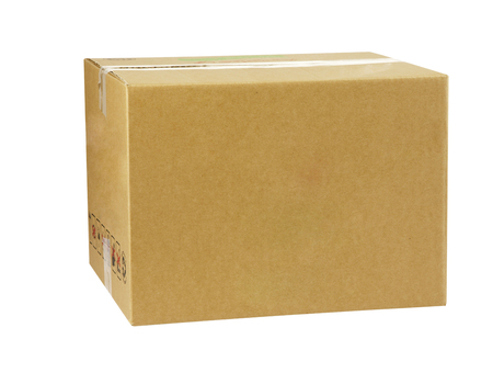 brown cardbox with clipping path Stock Photo