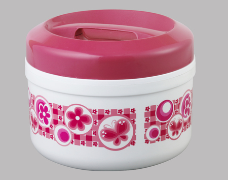 Plastic food storage container with clipping path