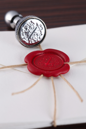 Close up Wax sealed stamping envelope