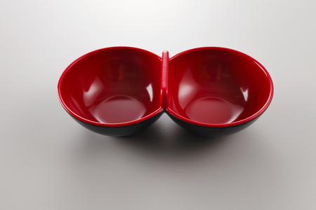 double bowl on the white background Imagens