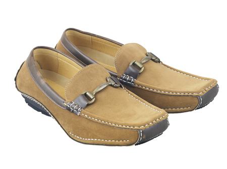 Pair of brown male loafers with clipping path