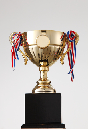 close up of the trophy on the white background