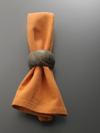 Clothe serviette with metal serviette ring