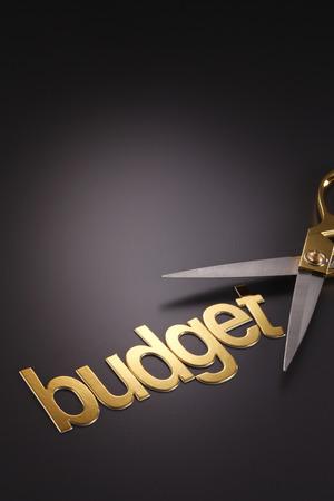 word budget next to the scissors 版權商用圖片