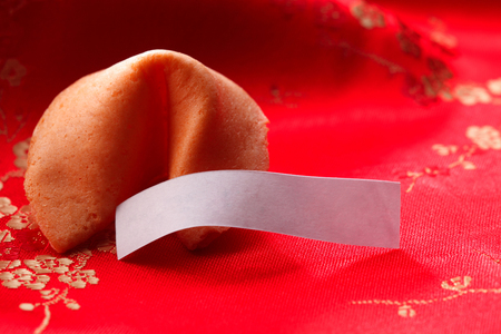close up of the fortune cookies with blank label