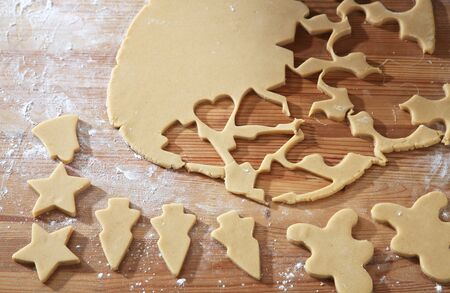 cutting cookies dough homemade for christmas 스톡 콘텐츠