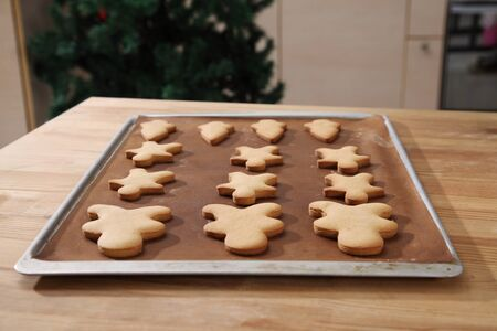 Plain gingerbread man on the tray