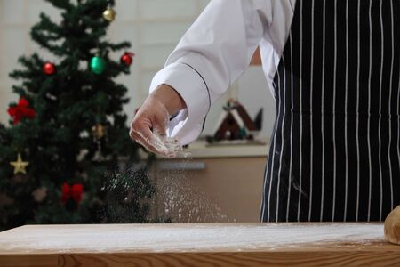 chef with flour on hands 스톡 콘텐츠