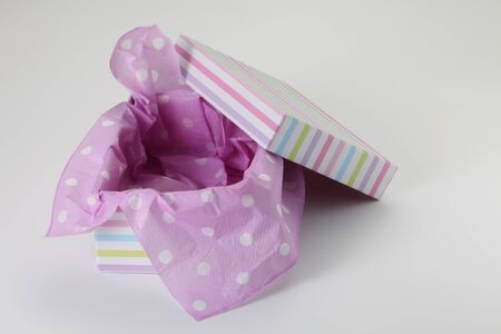 opened empty colorful present box 스톡 콘텐츠