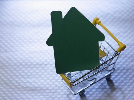 paper putting house shaped in the shopping cart Foto de archivo