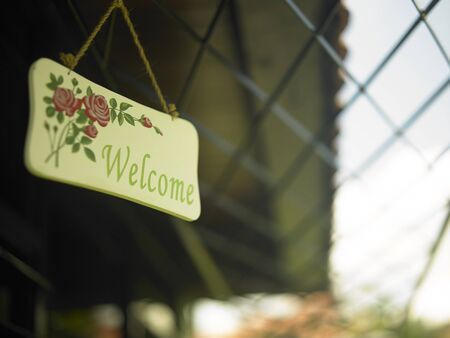 welcome sign at the garden
