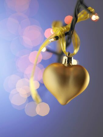 gold heart shaped christmas ornamment Stock fotó
