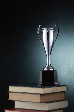 silver trophy on stack of book