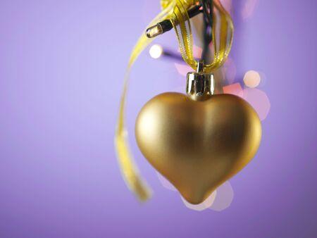 gold heart shaped christmas ornamment Stock fotó