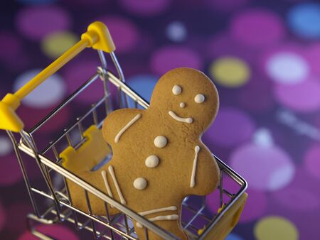 ginger bread man on the mini shoppoing cart