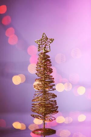 christmas tree item on the purple background Stock fotó - 129776324