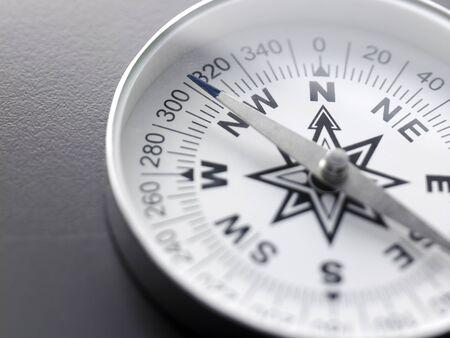 Nahaufnahme weißer Kompass auf grauem Hintergrund