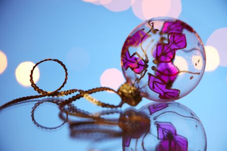 christmas decoration item on the glass table 스톡 콘텐츠