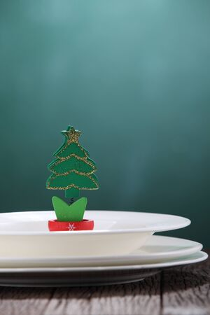 handmade christmas tree on the dinner set