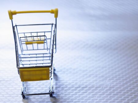 close up of the shopping cart with copyspace