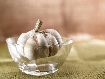 Garlic in a glass bowl
