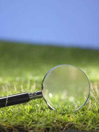 magnifying glass on the grass Stock fotó - 129776198
