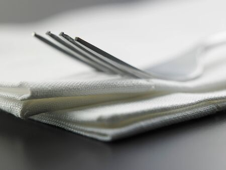 close up of the fork on the napkin