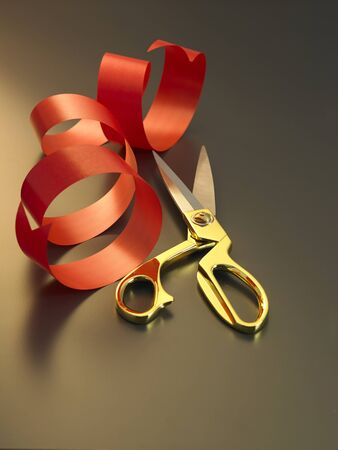 scissors and red ribbon for opening ceremony 写真素材
